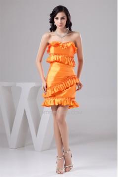 Sleeveless Pleats Taffeta Strapless Sheath/Column Prom/Formal Evening Dresses 02021412