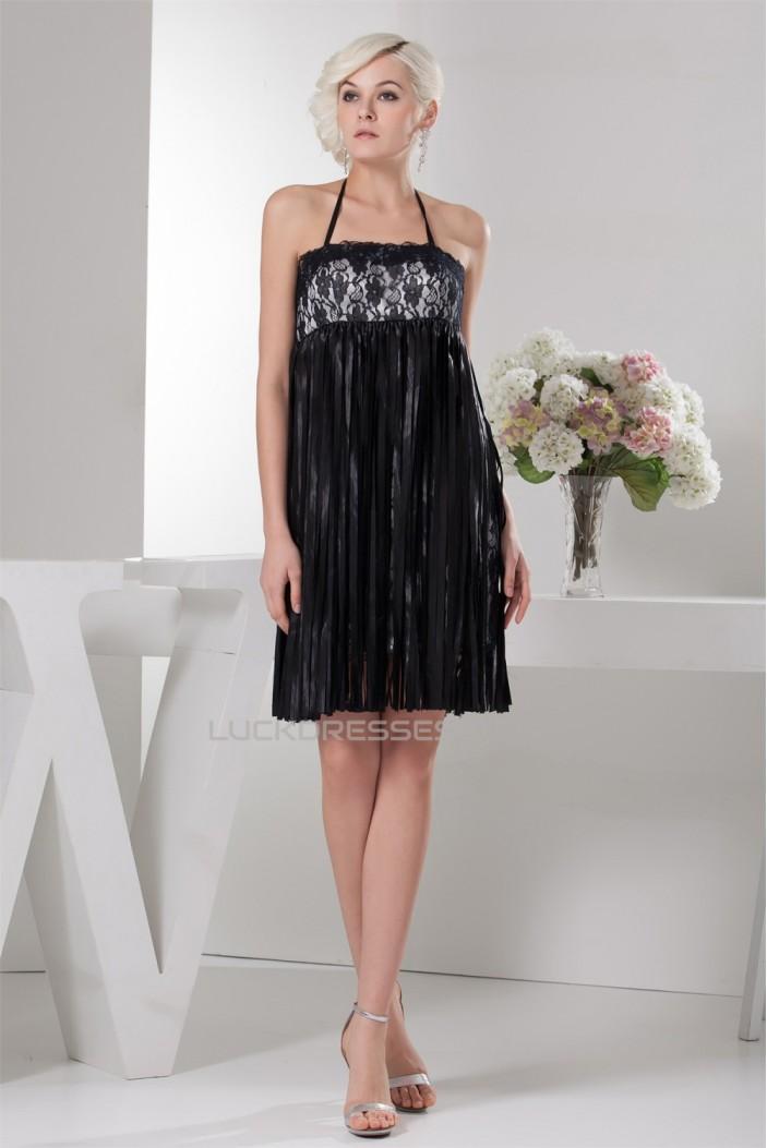 Sleeveless Sash Ribbons Short/Mini Lace Little Black Dresses 02021413