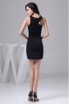 Sleeveless Sheath/Column Pleats Scalloped Little Black Dresses 02021416