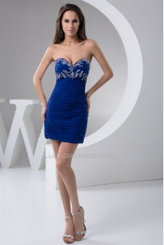 Sleeveless Sheath/Column Short/Mini Beading Prom/Formal Evening Dresses 02021417