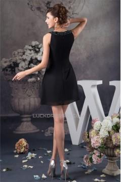 Sleeveless Short/Mini Beading A-Line Chiffon Silk like Satin Little Black Dresses 02021419