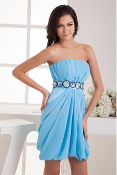 Sleeveless Short/Mini Elastic Woven Satin Prom/Formal Evening Dresses 02021420