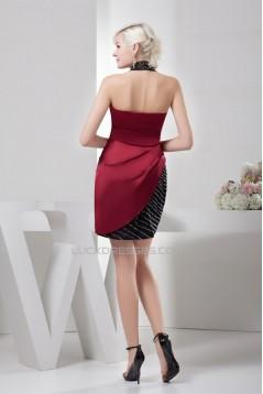 Sleeveless Short/Mini Halter Satin Silk like Satin Prom/Formal Evening Dresses 02021421