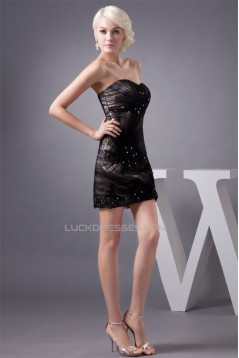 Sleeveless Short/Mini Sheath/Column Beading Prom/Formal Evening Dresses 02021422