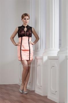 Sleeveless Short/Mini Taffeta Lace Sheath/Column Prom/Formal Evening Dresses 02021423