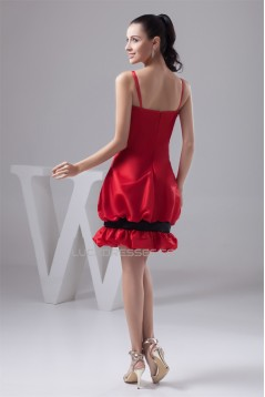 Spaghetti Straps Sleeveless Bow s Taffeta Silk like Satin Prom/Formal Evening Dresses 02021428