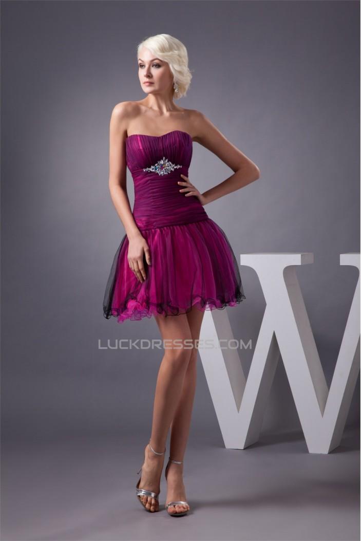 Strapless Fine Netting Acrylic Beading Short/Mini Prom/Formal Evening Dresses 02021429