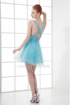 A-Line V-Neck Short/Mini Sleeveless Beaded Tulle Prom Evening Cocktail Dresses 02021433