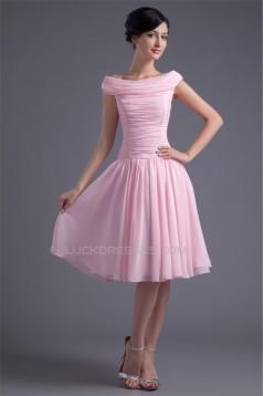 A-Line Chiffon Silk like Satin Ruffles Knee-Length Prom/Formal Evening Dresses 02021436