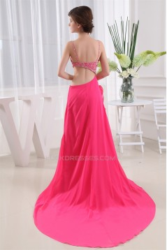 A-Line Spaghetti Strap Beading Long Prom Evening Party Dresses 02020144