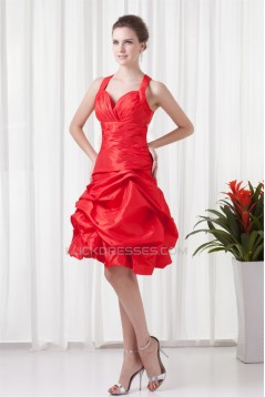 A-Line Ruched Taffeta Sleeveless Knee-Length Prom/Formal Evening Dresses 02021440