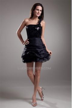 A-Line Ruffles Organza Silk like Satin One-Shoulder Little Black Dresses 02021441