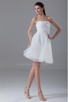 A-Line Strapless Organza Handmade Flowers Prom/Formal Evening Dresses 02021444