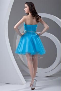 A-Line Strapless Short/Mini Satin Netting Best Bridesmaid Dresses 02021445
