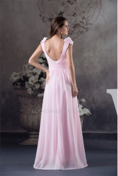 A-Line Cap-Sleeve Floor-Length Beading Long Pink Prom Evening Formal Bridesmaid Dresses 02020145