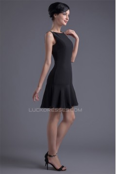 Bateau Beading Short/Mini Sleeveless Chiffon Little Black Dresses 02021450