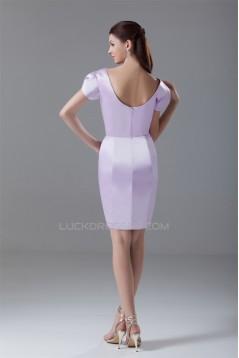 Beading Short V-Neck Sheath/Column Satin Prom/Formal Evening Dresses 02021455