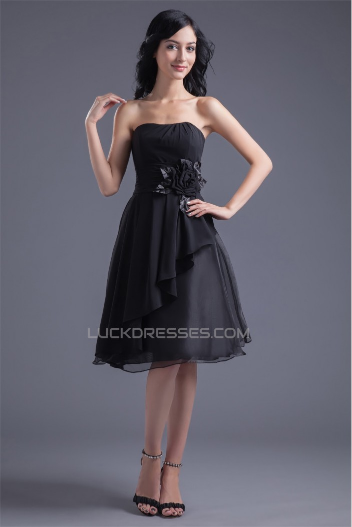 Chiffon Organza Silk like Satin A-Line Knee-Length Little Black Dresses 02021462