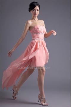 Chiffon Silk like Satin A-Line Strapless Prom/Formal Evening Dresses 02021463
