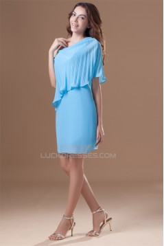 Chiffon Silk like Satin One-Shoulder Short/Mini Prom/Formal Evening Dresses 02021466