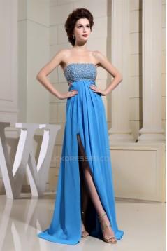 Empire Floor-Length Chiffon Long Blue Beaded Prom/Formal Evening Dresses 02020147