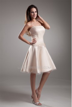 Handmade Flowers Strapless Knee-Length Prom/Formal Evening Bridesmaid Dresses 02021471