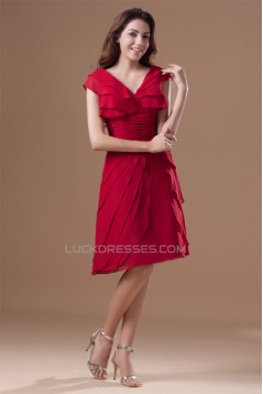 Knee-Length Chiffon Silk like Satin Pleats Prom/Formal Evening Bridesmaid Dresses 02021472