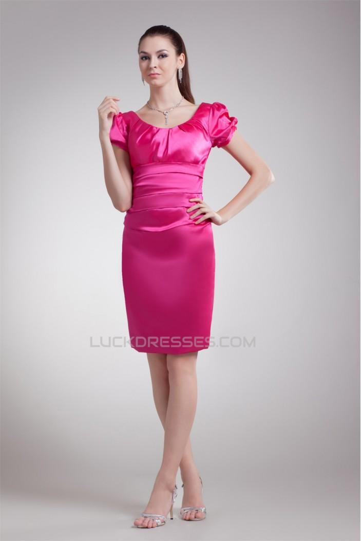 Knee-Length Pleats Scoop Sheath/Column Prom/Formal Evening Dresses 02021473