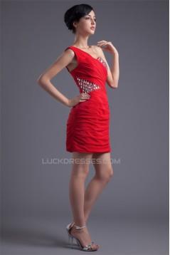 One-Shoulder Beading Short/Mini Sleeveless Prom/Formal Evening Dresses 02021475