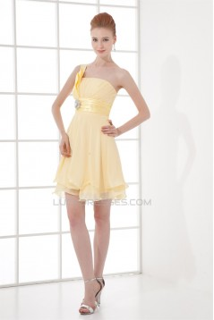 One-Shoulder Pleats A-Line Chiffon Silk like Satin Prom/Formal Evening Bridesmaid Dresses 02021477