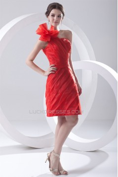 One-Shoulder Sheath/Column Sleeveless Organza Silk like Satin Prom/Formal Evening Dresses 02021478