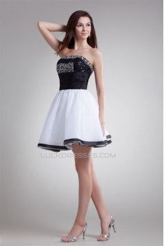 Organza Elastic Woven Satin Strapless A-Line Prom/Formal Evening Dresses 02021482