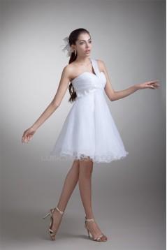 Princess Satin Organza Sleeveless One-Shoulder Little White Dresses 02021489