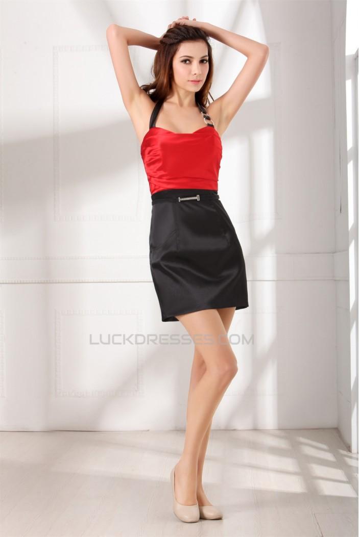 Short/Mini Halter Satin Sheath/Column Prom/Formal Evening Dresses 02021504
