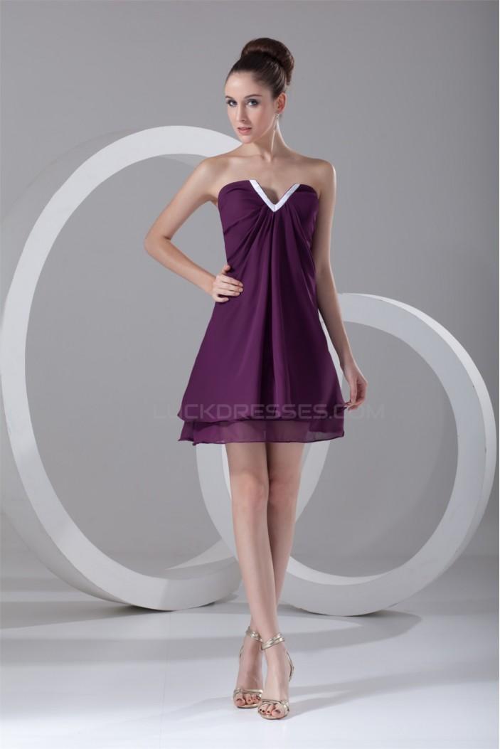 Short/Mini Ruffles A-Line V-Neck Sleeveless Prom/Formal Evening Dresses 02021508