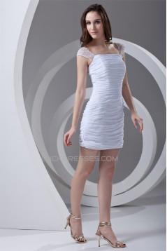 Short/Mini Sheath/Column Straps Chiffon Elastic Woven Satin Prom/Formal Evening Dresses 02021510