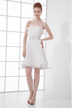 Short/Mini Sleeveless Pleats Chiffon Silk like Satin Prom/Formal Evening Dresses 02021512