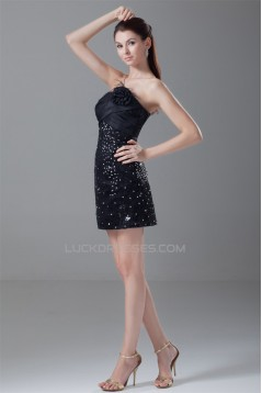 Short/Mini Sleeveless Taffeta Handmade Flowers Fur Sequins Dresses 02021513