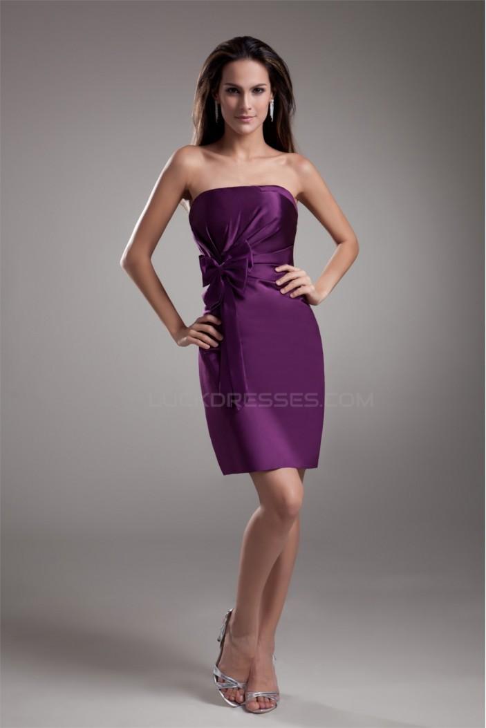 Short/Mini Strapless Sheath/Column Sleeveless Prom/Formal Evening Bridesmaid Dresses 02021514