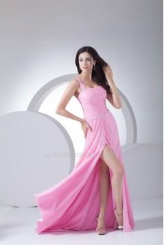 One-Shoulder Ruffles Long Pink Chiffon Prom/Formal Evening Dresses 02020152