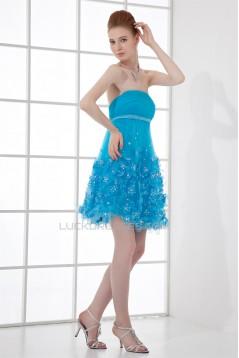 Sleeveless Beading Strapless Silk like Satin Fine Netting Prom/Formal Evening Dresses 02021521