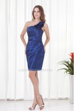 Sleeveless One-Shoulder Taffeta Sheath/Column Prom/Formal Evening Dresses 02021525