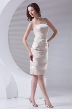 Sleeveless Pleats Sheath/Column Knee-Length Prom/Formal Evening Dresses 02021527