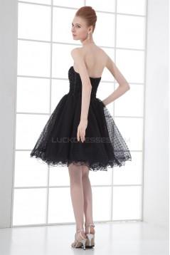 Sleeveless Satin Fine Netting Beading Short/Mini Little Black Dresses 02021530