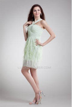Sleeveless Short/Mini Chiffon Elastic Woven Satin Prom/Formal Evening Dresses 02021532