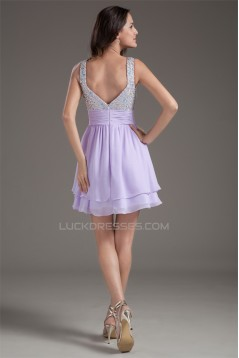 Sleeveless Short/Mini Straps Ruched Chiffon Silk like Satin Prom/Formal Evening Dresses 02021533
