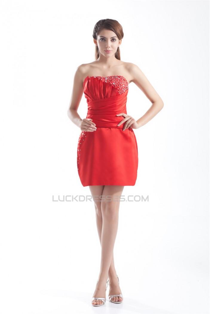 Sleeveless Strapless Satin Beading Sheath/Column Prom/Formal Evening Dresses 02021535