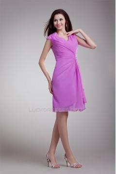 Sleeveless V-Neck Pleats Chiffon Elastic Woven Satin Prom/Formal Evening Dresses 02021537