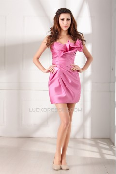 Strapless Satin Sleeveless Pleats Sheath/Column Prom/Formal Evening Bridesmaid Dresses 02021539