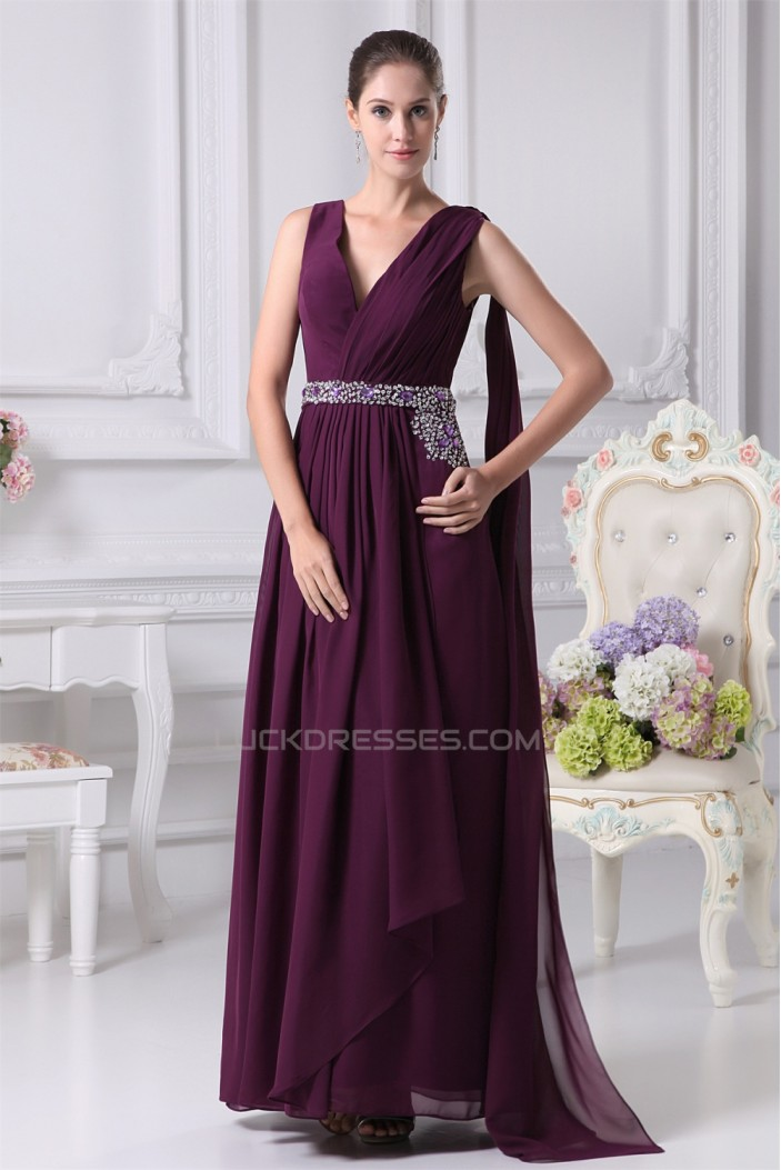 A-Line V-Neck Beading Long Purple Prom/Formal Evening Dresses 02020154